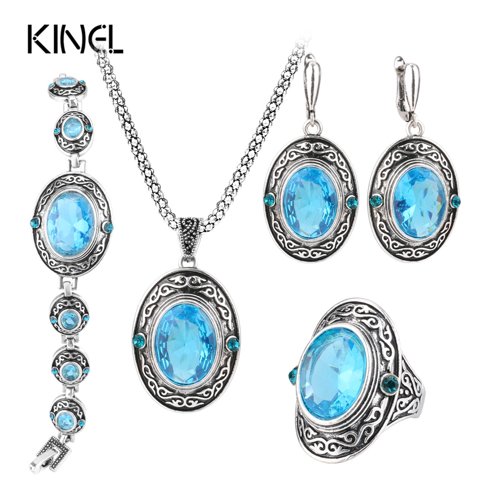 Kinel 4Pcs Women Vintage Jewellery Sets Antique Silver Color Retro Pattern Fashion Blue Oval Ring Wedding Jewelry Crystal Gift