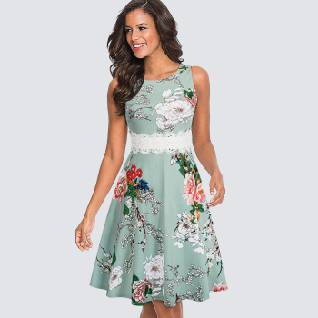 Women Neck A-line Dress Summer Elegant Flower Lace Patchwork Sleeveless Tunic Party Swing Dress 1