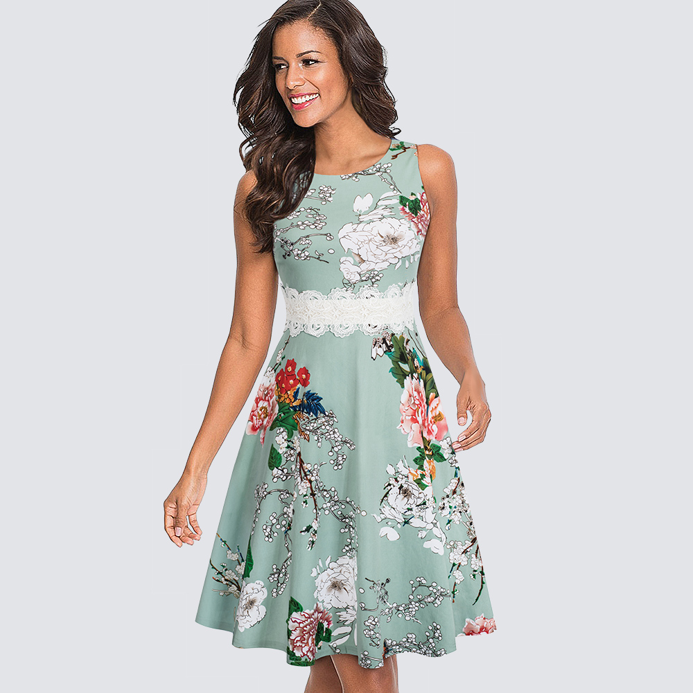 Women Vintage Casual Round Neck A-line Dress Summer Elegant Flower Lace Patchwork Sleeveless Tunic Party Swing Dress HA079
