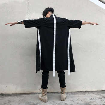 2018 Spring Stylish Extra long shirts for men Hip hop Black color Loose - DISCOUNT ITEM  10% OFF All Category