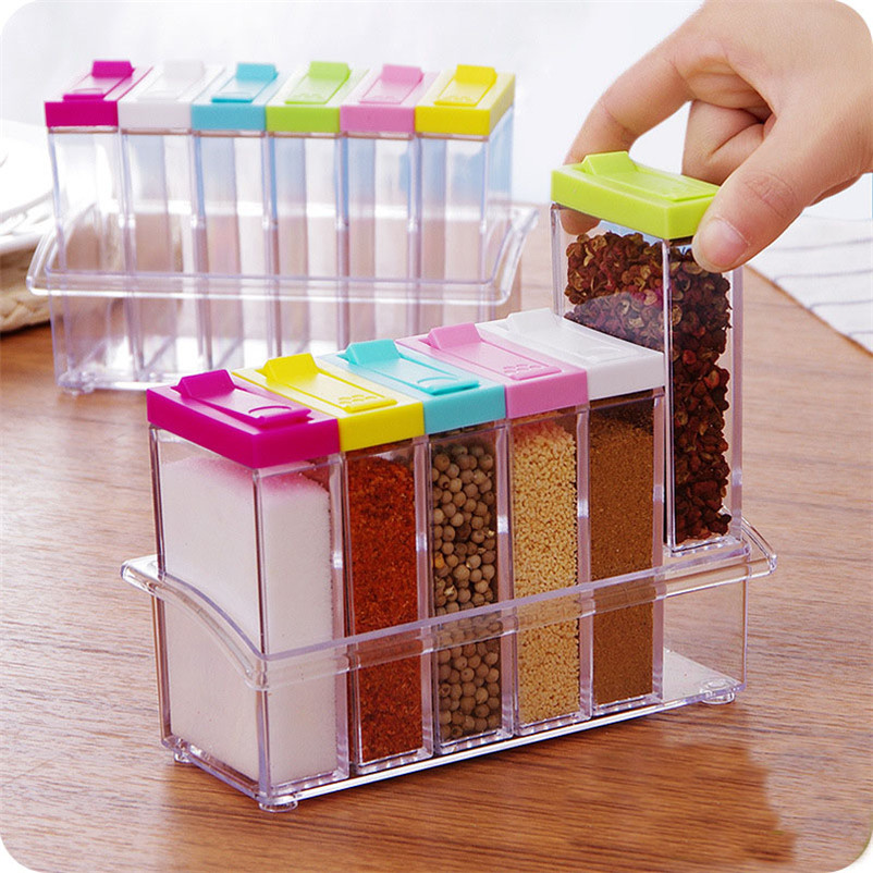 6PCS SET Clear Seasoning Rack Spice Pots Acrylic Seasoning Box Storage Container Condiment Jars Kitchen Tool