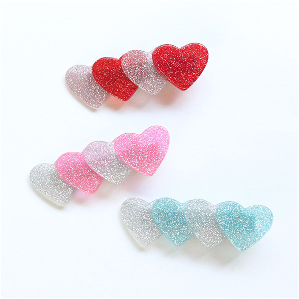 Fashion Cute Japan Style Giltter Bling Heart Shape Acetic Acid Hair Clips Hairpins Barrettes Girls Hairgrips Hair Accessories