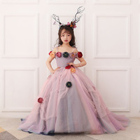 Girls' party flowers ball grown dresses, kids special occasions, dance, dress, kids & teenager boutique clothing, R1BF605DS 09