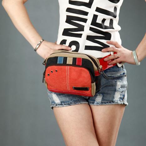 Patrón de ardilla moda personalidad de la vendimia vogue color block lienzo paquete de la cintura pequeño mini cruzada cuerpo bolso niñas cartera