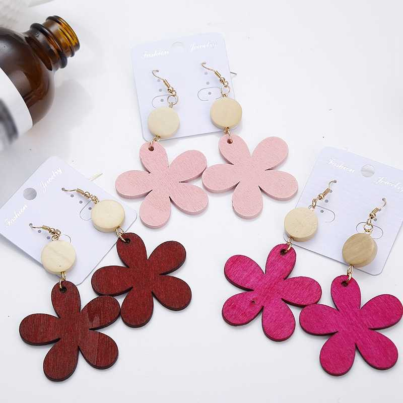 Korean Wood Flower Drop Earrings Big Petal Flower Long Dangle Earrings For Women Girl Jewelry Party Gift Pink Yellow Earrings