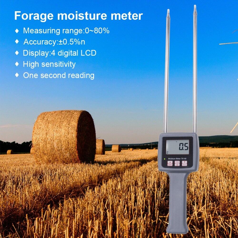 Testeur d'humidité numérique pour herbes, herbe, son de blé, alimentation animale, matériau en fiber ou mesure rapide de la récupération d'humidité TK100