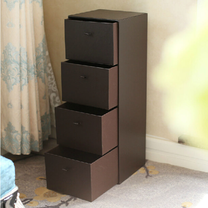 Europe Chocolate Coffee Color Room Drawer Organizer for Clothing Toys Sundries Home Leather Storage Box Cabinet with 4 Drawers