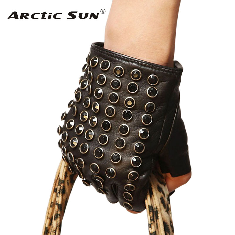 Free Shipping Women Genuine Leather Gloves Black Half Finger Mittens Fashion Punk Sheepskin With Rhinestones Driving Glove L116