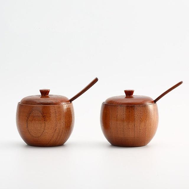 Японская банка для специй из натурального дерева, стильные банки, контейнер для приправ, солонка с крышкой, сахарница, ложка для соли, кухонные инструменты, гаджеты