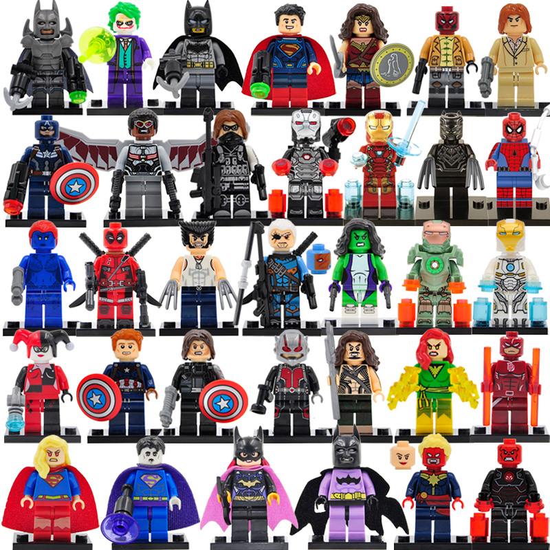 Legoingly 34pcs/lot DC Marvel Super Hero Figures 200+ Avengers Building Blocks Set Batman Spider Man Thor Educational Toys