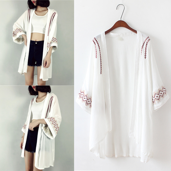 TingYiLi Embroidery Summer Cardigan Black White Kimono Cardigan ...