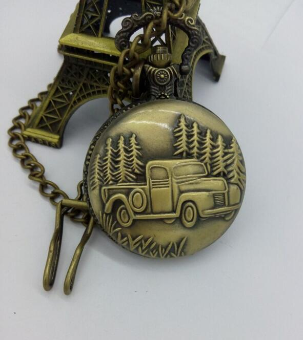 Free Shipping Antique Car Truck Pendant Quartz Pocket Watch FOB Chain Mens New Gift Watches PBkU396