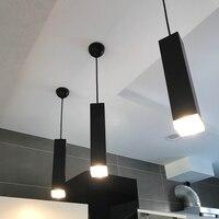 Bar 1 pcs square led tube pendant lamp suspended luminaire for Hotel Reception modern Led picture light Restaurant hang lighting