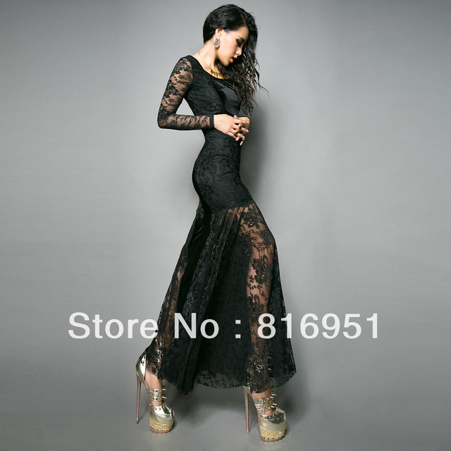 Free Shipping Velvet Lace Fish Tail Dresses Y Club Wear Full Length Long Sleeve