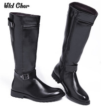 2017 genuine Leather Martin Boots Fur Martin High Top Casual Shoes Men Male Boots over the knee Botas Brand Motorcycle Boots