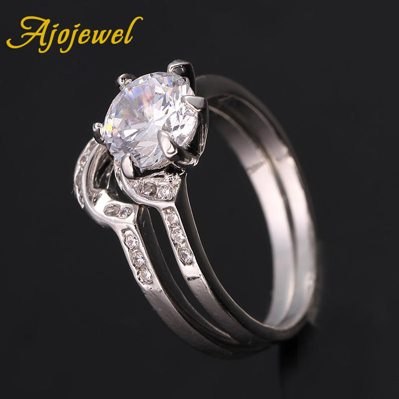 Ajojewel Brilliant Cut CZ Ring Set For Women Engagement Wedding Jewelry High Quality