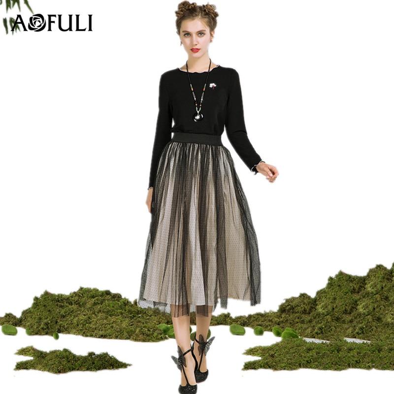 08bcc8e8d5 AOFULI L- 4XL 5XL Plus size Skirt Set 2018 Spring Women Long sleeve Black  Tops and Elastic High Waist Pleated Mesh Midi Skirts