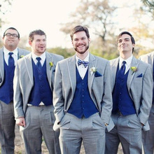 Gray Wedding Groomsmen Tuxedos Classic Style 3 Piece Royal Blue Vest Men Suits(Jacket with Pants