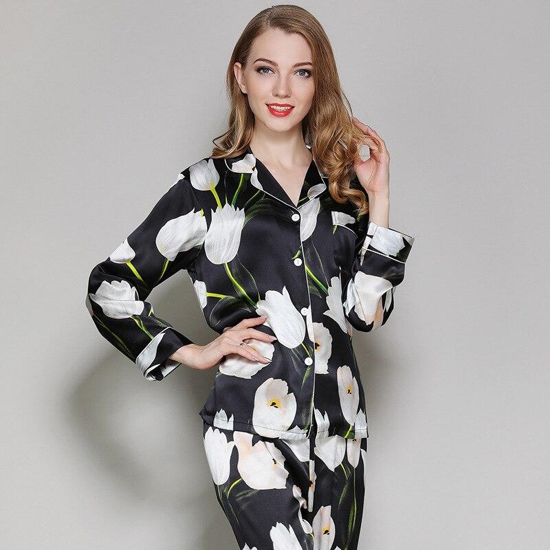 Зеленоватая Лилия Цветок Мода 100% шелковые пижамные комплекты женская ночная рубашка с длинными рукавами благородные цветы сексуальные женские пижамы шелк skimpy