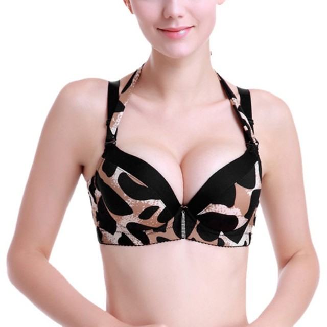 8960887337 ROPALIA Women A B C Cup Bra Sexy Leopard Push Up Bra Double Baldric Padded  Up Fashion Underwire Bras