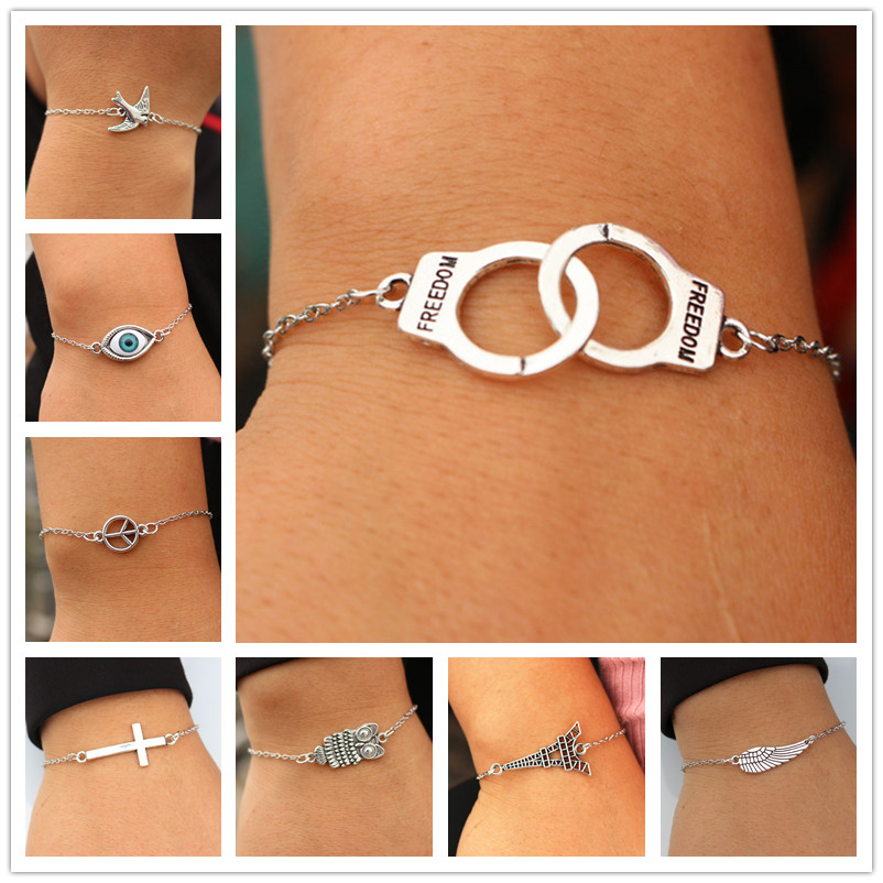 Hot Vintage Jewelry Charm Bracelets For Men Women Bangle Cross Heart Handcuff Bird Love Peace Eye Link Wrap Chain Bracelet Gift