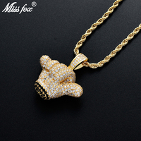 Missfox Hip Hop Small Hand Pendant Solid Zircon Pendant Chain Necklace Golden Copper Metal Choker Jewels Trendy Fascinating Gift