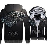 706c2807a Game Of Thrones House Stark Wolf 3D Hoodies Sweatshirts Men 2019 Winter  Warm Jackets Casual Plus
