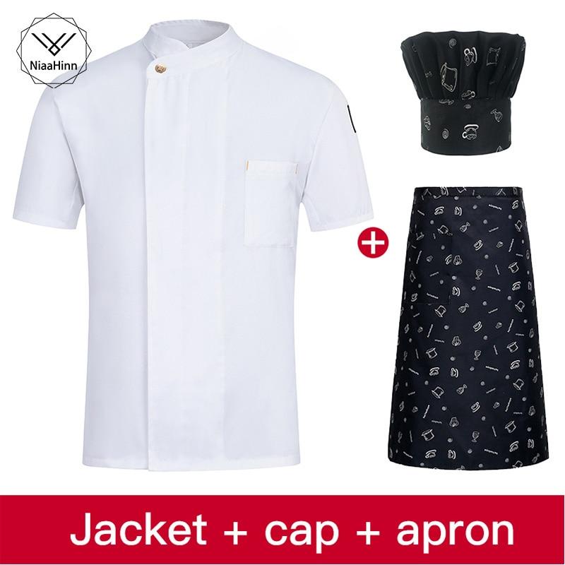 Chef Uniforms Short Sleeve Men Food Services Cooking Jacket Plus Size Uniform Women Cook Coat Overalls Hotel Wear Chef Hat Apron