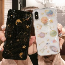 Luxury Glitter Cute Space Planet Case For iPhone 11 Pro Max X XR XS Max 7 8 6 6S Plus Clear Soft Silicon Cartoon Star Moon Cover luxury glitter cute space planet phone case for iphone x xr 11 pro xs max 7 8 plus soft silicon back cover for iphone 6 6s 7plus