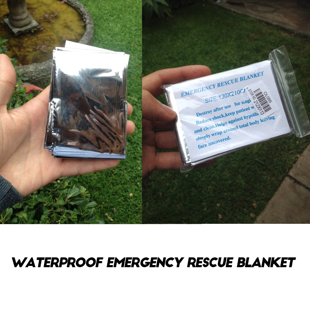 Waterproof Disposable Outdoor Military Survival Emergency Rescue Space Foil Thermal Blanket First Aid Sliver Curtain Drop Ship
