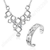 Elegant Pure Solid 925 Sterling Silver Woman Bangle Bracelet Necklace Jewelry Set Exquisite Crystal Vintage Party