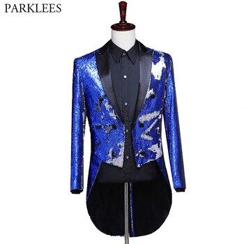 Fashion Blue Sequin Suit Blazer Men Party Wedding Groom Prom Dress Blazer Men Tuxedo Tailcoat Stage Singer Host Dance Costumes