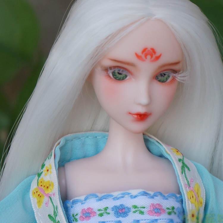 Première-classe maquillage Poupée Tête/3D Yeux Réel Cils Dessin À La Main blanc Cheveux Tête Accessoires DIY Pour Xinyi OB Blanc Peau Poupée