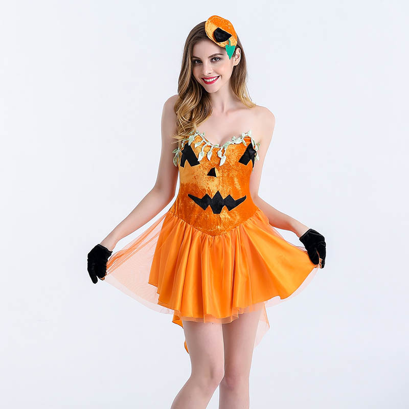 Role Playing Game Carnival Party Fancy Costume Adult Pumpkin <font><b>Halloween</b></font> Costumes For Women <font><b>Sexy</b></font> Cosplay Dress <font><b>Disfraces</b></font> Adultos image
