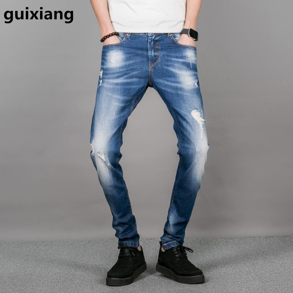 2017 new style men leisure printed jeans  men's high quality famous brand broken hole do the old design embroidered jeans men сабвуфер автомобильный pioneer ts wx305b