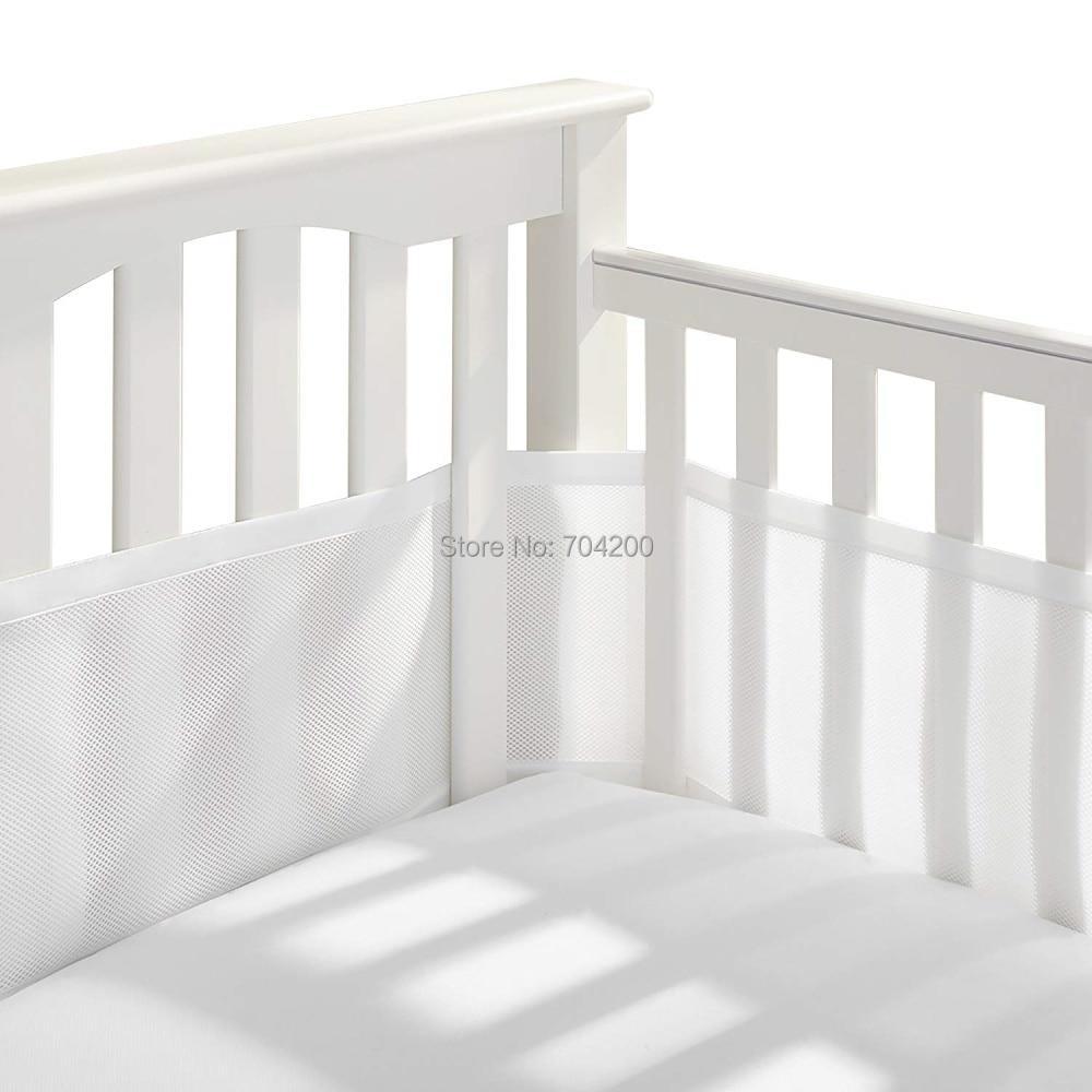 Серый и Белый Классический дышащий сетчатый вкладыш для детской кроватки - Цвет: 465x27x0.25cm