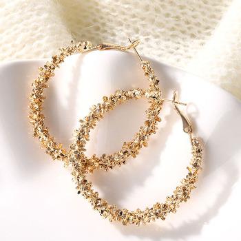 IPARAM-nowe złote kolczyki moda kobieca kobiety wielkie okrągłe obręcze punkowe czarujące biżuteria na imprezy 2020 tanie i dobre opinie CN (pochodzenie) Ze stopu cynku 50mm * 35mm Hoop kolczyki TRENDY ROUND Metal ZL0000148 High Quality Gold Silver Punk charm earrings
