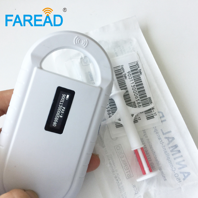 X60pcs 2.12*12mm FDX-B Animal Microchip Injector + X1pc 134.2KHz Frequency RFID Animal Handheld Reader Pet Scanner