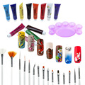 1 set Painting Acrylic 3D Nail Art Paint Suits Tube Draw Nail Art Tip UV Gel Suit for Practice Painting DIY Design Pen Palette