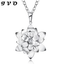 zircon silver flower necklace vintage jewelry pendant 2016 plant hot brand fashion 18inch chain necklace jewelry free shipping