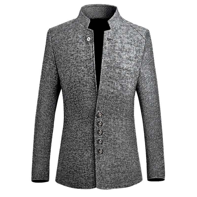 2019 סתיו מותג בציר בלייזר גברים סיני סגנון עסקים מקרית מעילי צווארון עומד זכר בלייזר Slim Fit Mens בלייזר מעילים