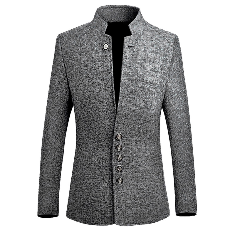 HEFLASHOR 2018 Brand New Vintage Blazer Men Chinese style Business Casual Coats Stand Collar Male Blazer Slim Mens Blazer Jacket
