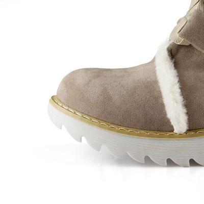 ENMAYER New Hot sale Half Knee Boots Fashion Thick Fur Warm Winter Shoes Vintage Lace Up Platform Outdoor Snow Boots for Women