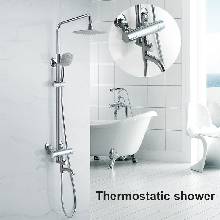 Shower Faucets Brass Chrome Thermostatic Bathroom Wall Bathtub Faucet Rain Shower Head Handheld Square Mixer Tap Sets JM-625L antique brass bathroom rain shower set faucet wall mount mixer tap with handheld shower head