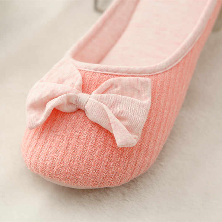 Cotton Cute Bowtie Home Women Slippers Summer Spring Indoor Shoes For Girls Ladies Female Warm House Bedroom Floor Flats