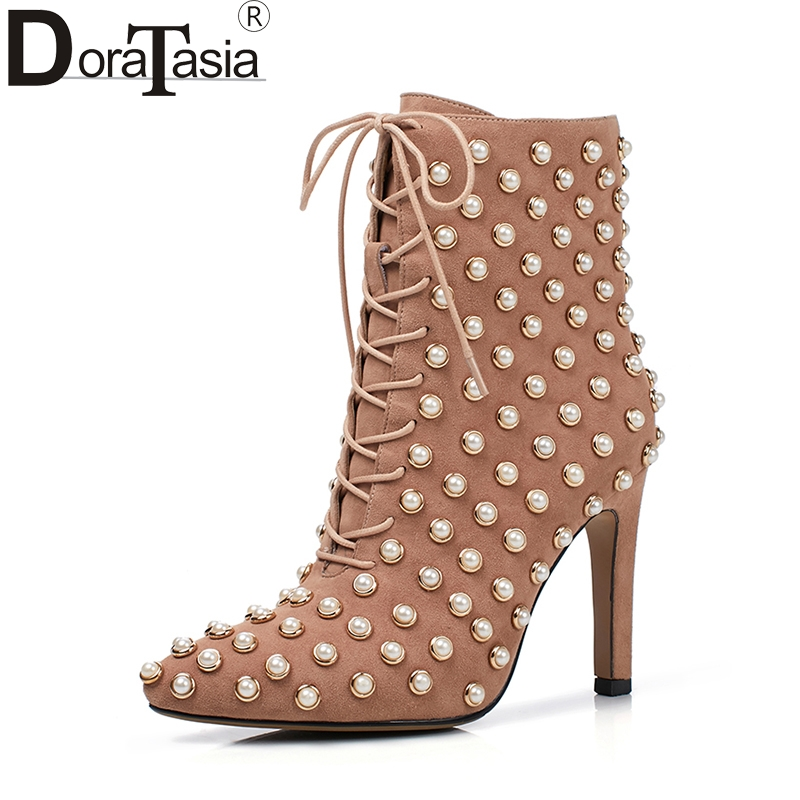 DoraTasia size 33-41 pointed toe brand shoes women thin high heels ankle boots sexy kid suede leather pearls top quality shoes doratasia 2018 large size 33 41 genuine leather brand shoes women sexy thin high heels ankle boots party shoes lady footwear