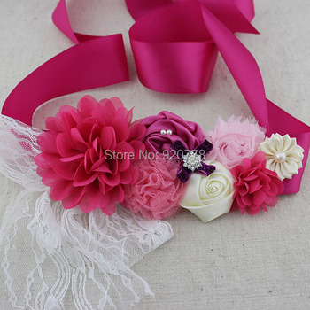 1 pcs Fuchsia ivory pink flower sash chic shabby flower sash belt with lace pearl Rhinestones Maternity sash flower girl belt