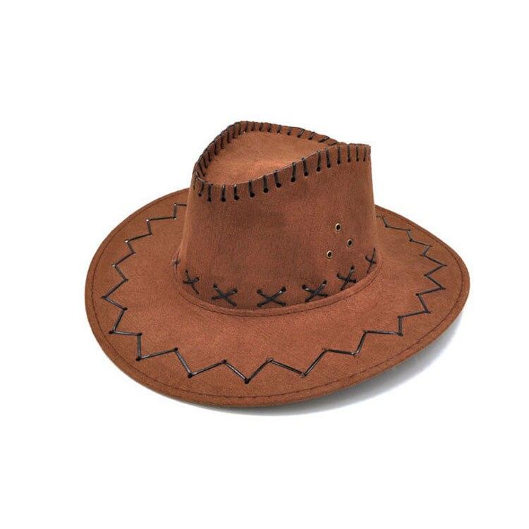 100pcs/lot Wide Brim Cowboy Hat Suede Look Wild West Fancy Dress Men Girls Solid Colors Gorros Cap Women's Hats Chapeau Femme 16