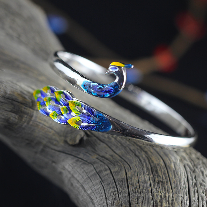 2018 New Real Bangle 2020 New Fashion Product Fine Rich Chinese Wind Restoring Ancient Ways Ms Bluing Peacock Bracelet Sets