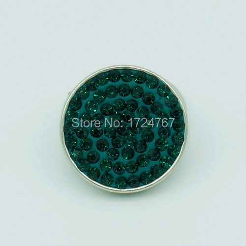 New KS0005 handmade Emerald rhinestone snap buttons Stainless buttons 20MM fit snap bracelets jewelry charm